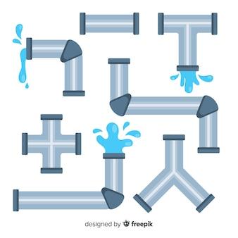 フラットなデザインの水パイプラインコレクション