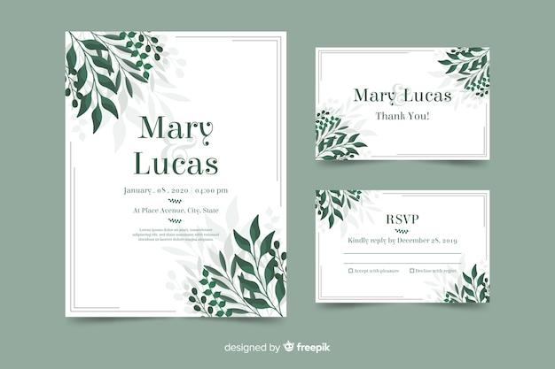 葉を持つ結婚式の招待状のテンプレート