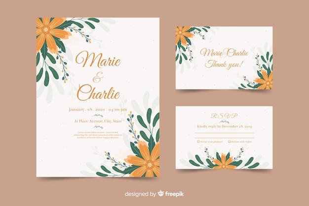 オレンジ色の花とかわいい結婚式招待状