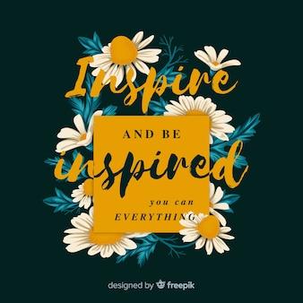 花とカラフルな肯定的なメッセージ