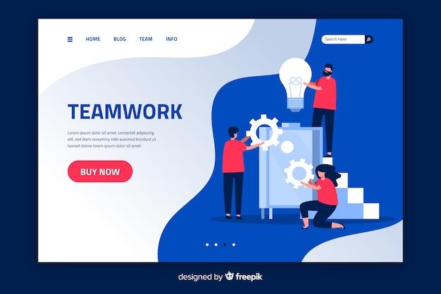 Работа в команде целевой страницы плоский дизайн