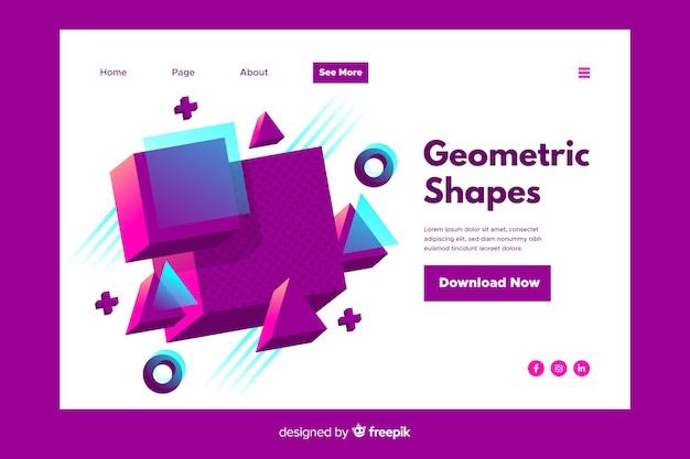Посадочная страница с геометрическими фигурами