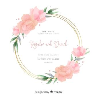 結婚式招待状にピンクの水彩花のフレーム