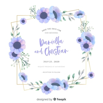 結婚式招待状に青い水彩花のフレーム