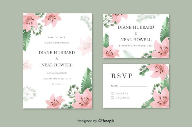 ピンクの花の水彩画の結婚式の招待状