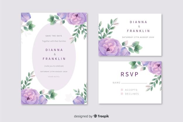 紫の花の水彩画の結婚式の招待状