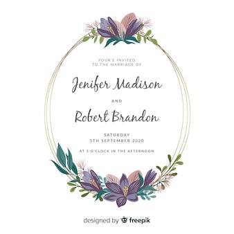 平らな花のフレームの結婚式の招待状のテンプレート