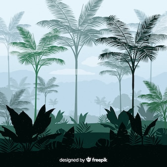 背景の熱帯林の風景
