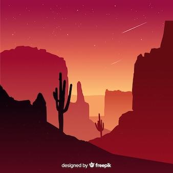 背景の砂漠の風景