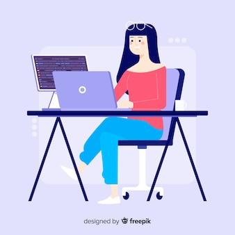 フラットなデザインの若い女の子プログラマー作業
