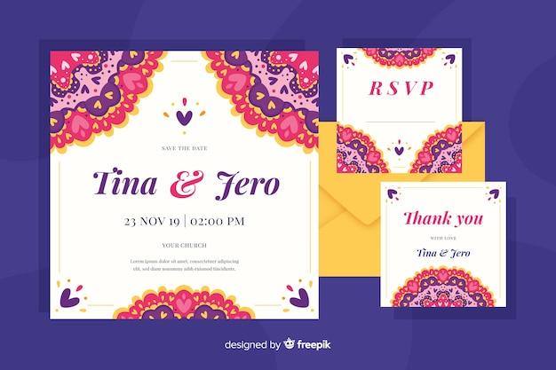 東洋の結婚式の招待状のテンプレート