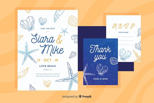 海洋の要素を持つフラットなデザインの結婚式の招待状