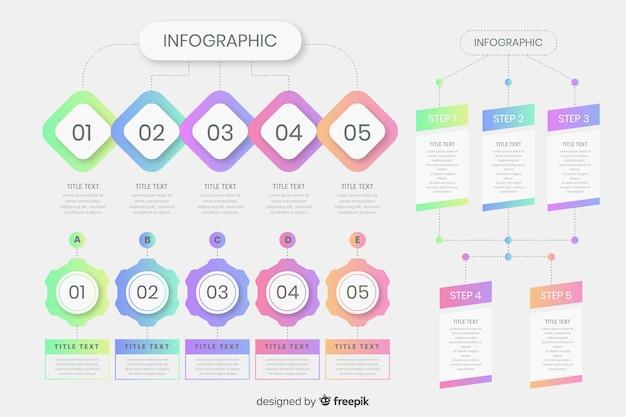 グラデーションインフォグラフィックの手順テンプレート