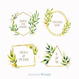 Акварельные свадебные рамки логотипы пакет