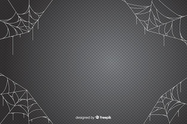 灰色の色合いのクモの巣ハロウィーン背景
