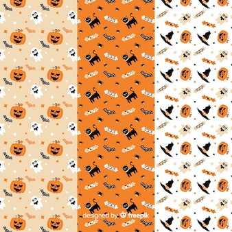 フラットハロウィーンパターンコレクションの白とオレンジの装飾