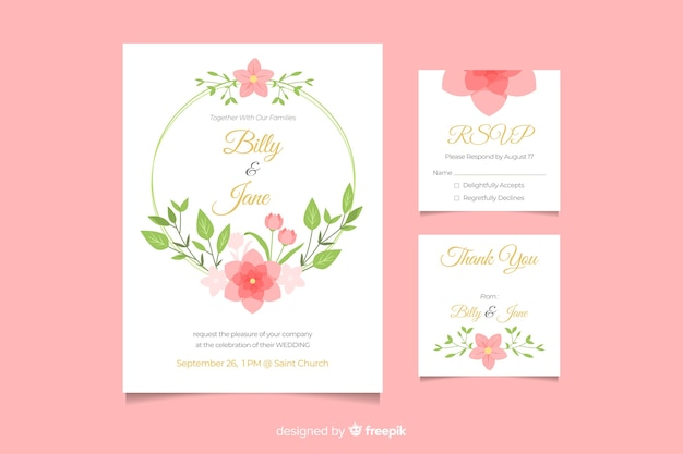 Милое свадебное приглашение с цветочной рамкой