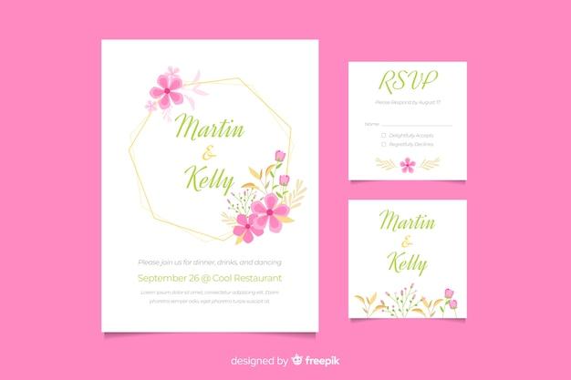 花のフレームと美しい結婚式の招待状