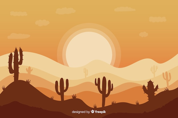 サボテンの配置と夜明けの風景