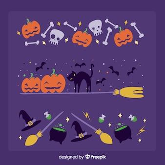 紫色の背景にお祝いハロウィーンボーダー
