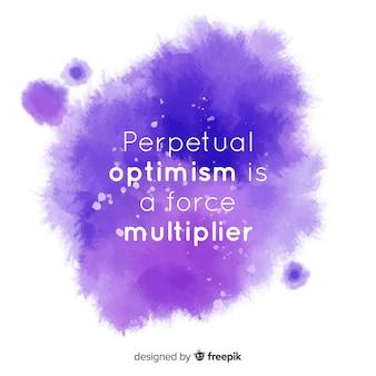 カラフルな水彩染色の楽観的なメッセージ