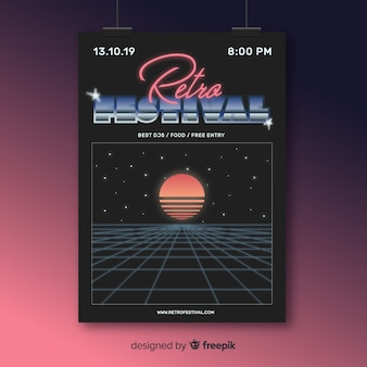 Ретро футуристический музыкальный шаблон плаката