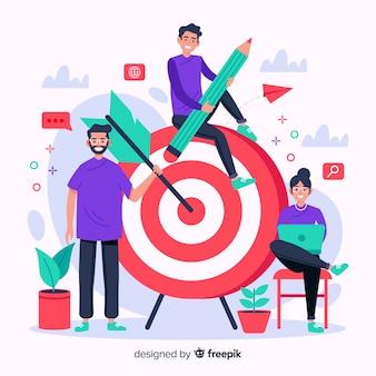 Иллюстрация концепции бренда в плоском дизайне