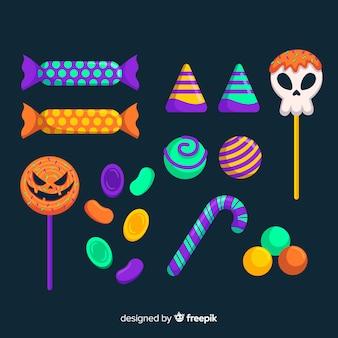 Череп и тыквенные сахарные конфеты на хэллоуин