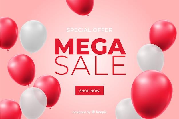 Реалистичная продажа фон с воздушными шарами