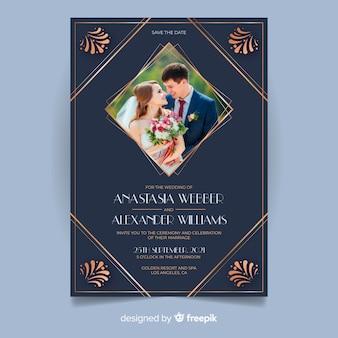 写真と青い結婚式の招待状