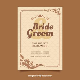 茶色のビンテージ結婚式の招待状のテンプレート