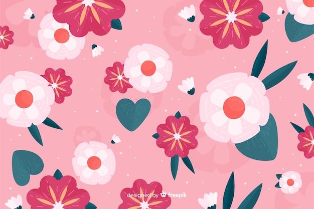 ピンクの背景の平らな美しい植生