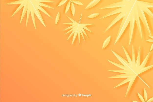 オレンジ色の背景にモノクロの葉