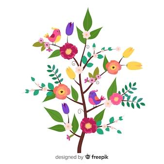 Плоский дизайн красочной цветочной ветви
