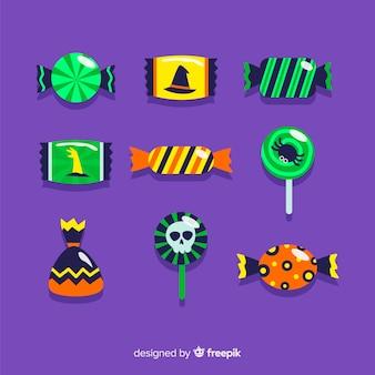 Коллекция хэллоуинских конфет с плоским дизайном