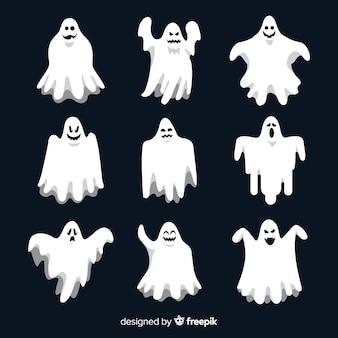 Плоская коллекция призраков хэллоуина