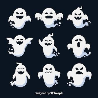 Плоский дизайн коллекции призраков