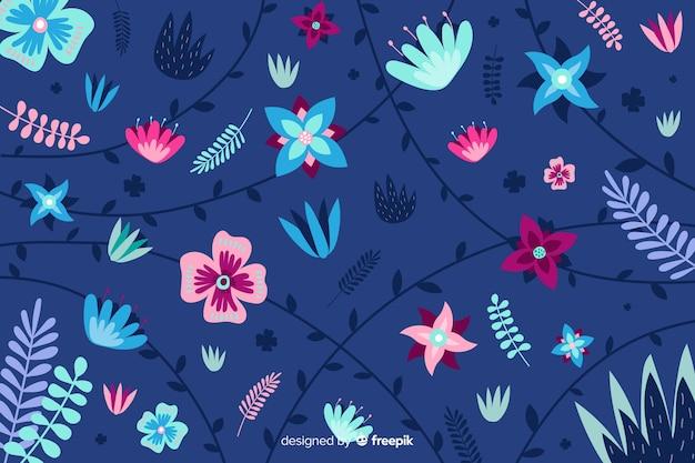 青色の背景に平らな美しい植生