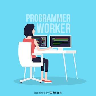 フラットなデザインの女性プログラマー作業