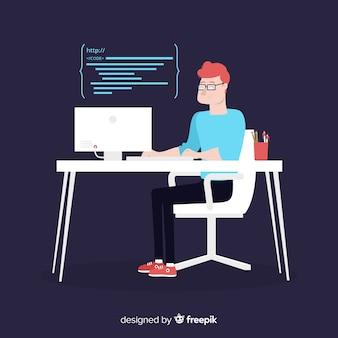 フラットデザインベクトル男性プログラマーコーディング