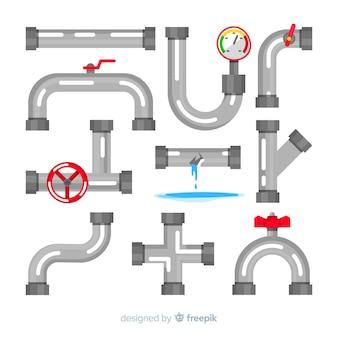 Коллекция водопроводных труб в плоском дизайне
