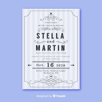 Шаблон свадебного приглашения с ретро-дизайном