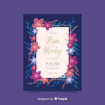 花の結婚式の招待状の手描き