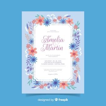 フラットなデザインに花の結婚式の招待状のテンプレート