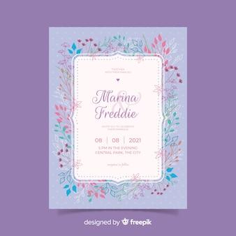 フラット結婚式招待状のテンプレート