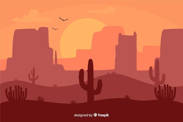 夜明けの砂漠の風景