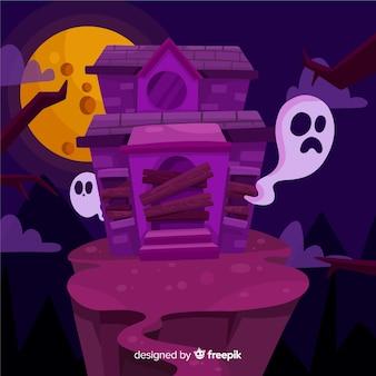 Плоский хэллоуин заброшенный дом