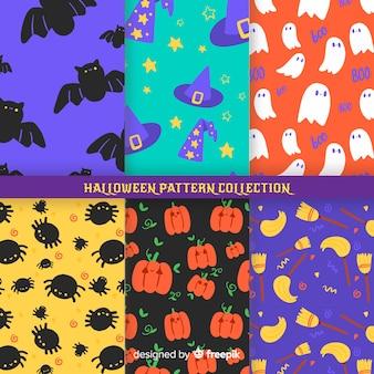 ハロウィーンパターンコレクションのフラットなデザイン