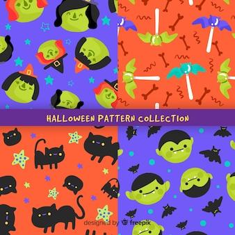 Плоский дизайн коллекции хэллоуин картины