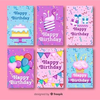 パーティーの要素を持つフラット誕生日カードコレクション